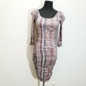 Free People Ruched Dress Bodycon Cut Out Back Boho
